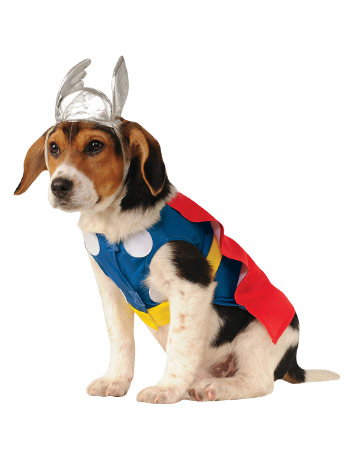 Red, blue and yellow Thor superhero dog costume with matching headpiece.
